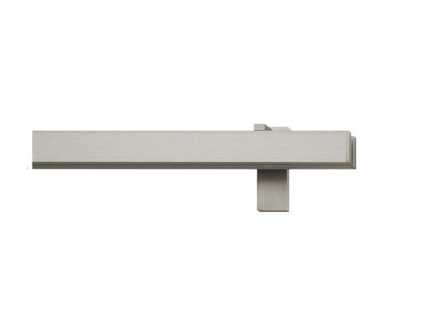 rail&roll mit Wandträger Flächenvorhang 2-Lauf vernickelt-matt