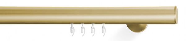 Gardinenstange vom Designer - soft - in messing für Wellenvorhang. Komplett mit Gleitern auf Maß bestellbar
