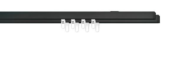 Doppelläufige Gardinenstange in Trendfarbe schwarz end