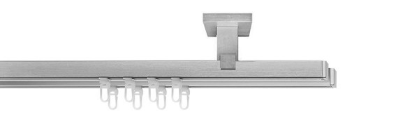 Premium Gardinenstange 2-läufig, vernickelt-matt(Wand) end