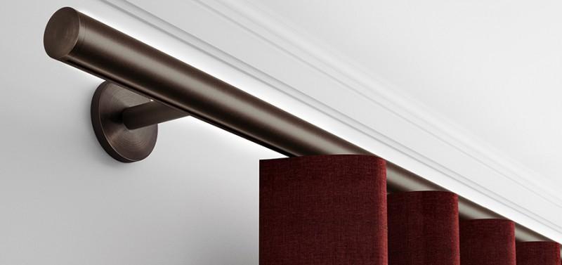 Gardinenstange Rund design gardinenstange rund für wellenvorhang (wand/decke